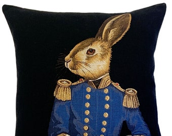 Hare Pillow Cover - Rabbit Lover Gift - Hare Decor - Fabfunky Cushion Cover - Turquoise Pillow - Dressed Rabbit Throw Pillow