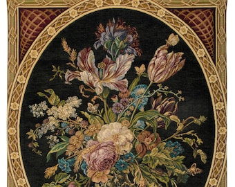 Stillife Tapestry Wall Hanging - Floral Wall Hanging Tapestry - Flower Bouquet Belgian Tapestry - Jan Davidsz De Heem painting