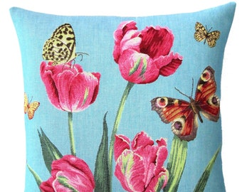 Tulip Pillow Cover with Butterflies - Pink Tulip Cushion Cover -  18x18 Belgian Tapestry Cushion Cover - Floral Throw Pillow