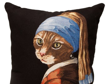 Cat With Pearl Pillow Cover - Quirky Cat Gift - Vermeer Gift For Her - Vermeer Pillow Cover - Vermeer Art Decor - 18x18 Tapestry Cushion