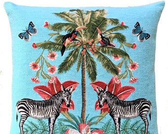 Zebra Pillow Cover - Palmtree Throw Pillow - Tropical Decor - Blue Decorative Pillow - 18x18 inch Tapestry Cushion Cover - Tropical Gift