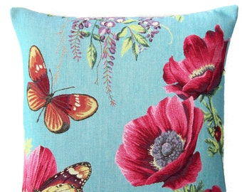 jacquard woven belgian tapestry cushion pillow cover pink flower with butterflies
