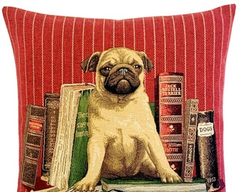 """pug pillow cover - librarian gift - pug lover gift - pug decor - belgian tapestry dog pillow case - red decorative pillow 18""""x18"""