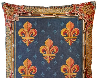 French Country Decorative Pillow Cover - Fleur de Lis Pillow Cover - Fleur de Lys Decor - Blue Tapestry Throw Pillow