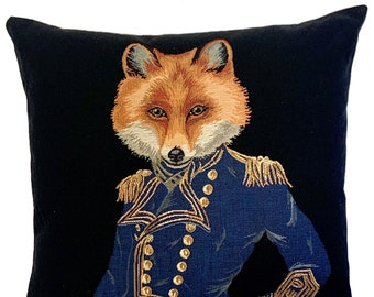 quirky fox pillow cover - fox decor - fox lover gift - forest decor - tapestry cushion cover - fox throw pillow