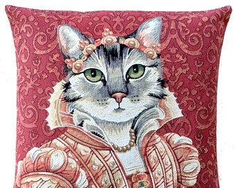 cat portrait pillow cover - Medici Cat Portrait - Lucrezia de Medici - Cat Decor - Cat Lover Gift - Tapestry Cushion Cover - 18x18 pillow