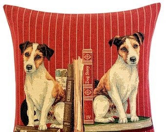 jack russell pillow cover - librarian gift - jack russell over gift - dog decor - belgian tapestry dog pillow case - red decorative pillow