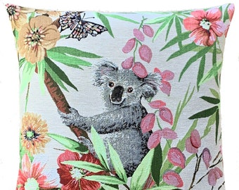 Koala Bear Pillow Cover - Koala Cushion Cover - Koala Throw Pillow - Aussie Decor - Koala Lover Gift - Belgian Tapestry Pillow Case