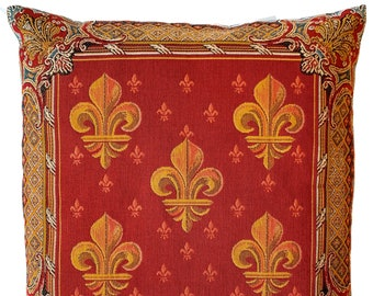 French Decor - Fleur de Lis Pillow Cover - Fleur de Lys Decor - French Country Decorative Pillow - Red Tapestry Throw Pillow