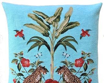 Leopard Pillow Cover - Palmtree Throw Pillow - Tropical Decor - Blue Decorative Pillow - 18x18 inch Cougar Pillow - Tropical Gift