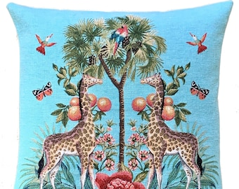 Giraffe Pillow Cover - Palmtree Throw Pillow - Tropical Decor - Blue Decorative Pillow - 18x18 inch Tapestry Cushion Cover - Tropical Gift