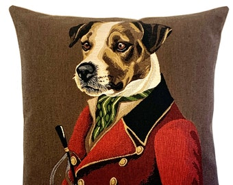 Foxhunt Decor - Jack Russell Cushion Cover - Dog Decorative Pillow - Quirky Dog Pillow - Jack Russell Lover Gift