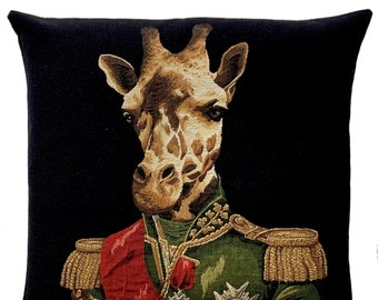 Giraffe Pillow Cover - Giraffe Portrait Throw Pillow - Dressed Up Giraffe Decor - Tapestry Cushion Cover - Wildlife Decor