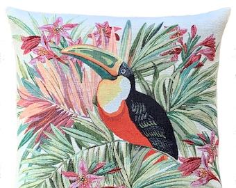 Toucan Pillow Cover - Toucan Decorative Pillow - Toucan Lover Gift - Tropical Decor - 18x18 inch Throw Pillow - Bird Cushion Cover