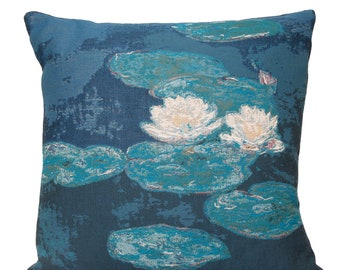 Japanese Bridge Pillow Cover - Monet reproduction Cushion Cover - Imptressionist Art Gift - Tapestrry Throw Pillow - Fine Arts Decor
