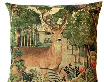 decorative stag pillow cover - woodland decor - deer cushion cover - verdure decor - stag lover gift