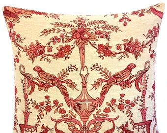 """Toile de Jouy Throw Pillow Cover - French Decor - Paradise Birds Pillow Case  - 18""""x18"""" red tapestry pillow cover - Gobelin Cushion Cover"""