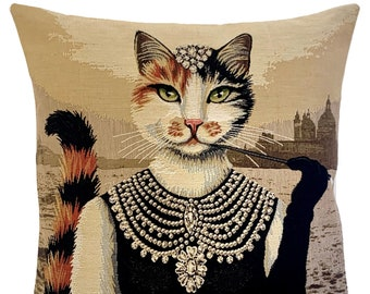 Cat Pillow Cover - Cat Lover Gift - Great Gatsby Decor - Cat Decor - Cat Sofa Pillow - Tapestry Cushion - Woven Pillow Cover