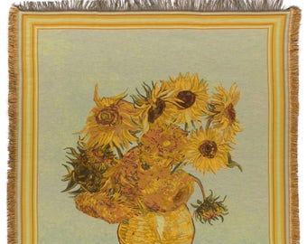 Van Gogh Throw Blanket - Sunflowers Tapestry Throw - 56x56 Belgian Tapestry Throw - Van Gogh Design Throw Blanket - TT-7119