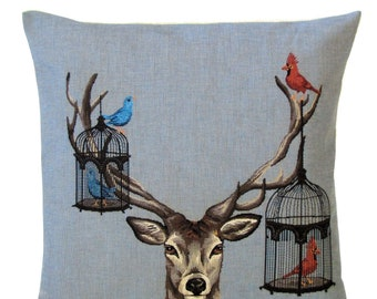 jacquard woven belgian tapestry cushion pillow cover Fabfunky stag with multicolour birds