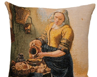 Vermeer Milkmaid Pillow Cover - Vermeer Decor - Vermeer Gift - Vermeer Pillow Cover - Vermeer Art Decor - 18x18 Tapestry Cushion