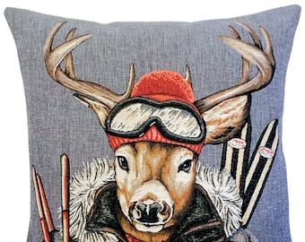 Stag Pillow Cover - Stag Lover Gift - Ski Decor - Vintage Ski Gift - Mountain Decor - Tapestry Pillow Cover