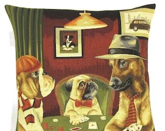 poker game pillow cover - english bulldog pillow-  pug cushion - rhodesian ridgeback pillow -  playing poker - doog lover gift