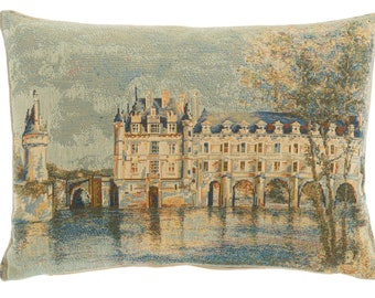 Chenoneau Castle Pillow Cover - French Castle Decor - French Decor Gift - Chateau de Chenonceau Cushion Cover - 14x18 Tapestry Cushion Cover