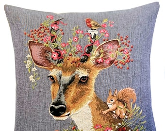 Deer Pillow Cover - Forest Decor - Deer and Squirrel Gift - Deer Lover Gift - Rustic Home Decor - Tapestry Cushion Cover