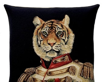 Tiger Pillow Cover - Funny Tiger Decor - Tiger Gift - Dressed Tiger - 18x18 Belgian Tapestry Cushion Cover - Wildlife Decor