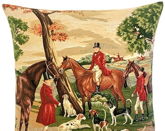 """Foxhunt Pillow Cover - English Decor - Foxhunting Gift - Classic Home Decor - Tapestry Cushion 18""""x18"""" - Horses and Beagles"""