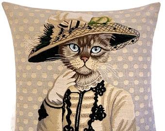 Victorian Decor - Cat Cushion Cover - Cat Lover Gift - Quirky Cat Gift - Cat Decor - 18x18 Throw Pillow - Tapestry Pillow Cover