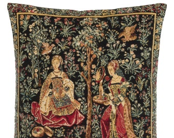 Medieval Tapestry Pillow Cover - Medieval Decor Accent Pillow - Embroidery Scene Decor - 18x18 Belgian Tapestry Cushion Cover - Galanteries
