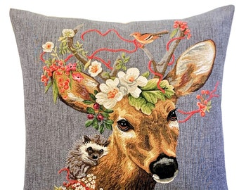 Forest Decor - Stag Pillow Cover - Stag and Hedgehog Gift - Stag Lover Gift - Rustic Accent - Stag Home Decor