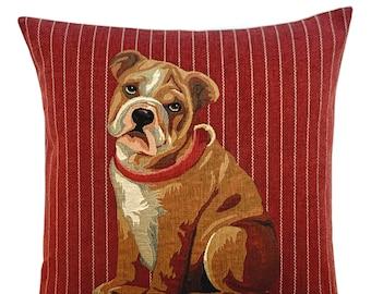 English Bulldog Pillow Cover - Bulldog Throw Pillow - 18x18 Belgian Tapestry Cushion Cover - Bulldog Lover Gift - Dog Art Cushion Cover