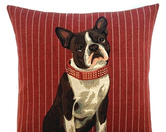 French Bulldog Pillow Cover - Boston Terrier Throw Pillow - 18x18 Belgian Tapestry Cushion Cover - Boston Terrier Lover Gift