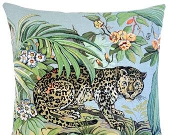 "Leopard Pillow Cover - Wildlife Decor - Tropical Gift - Gobelin Throw Pillow Cover - 18""x18"" Decorative Cushion Cover"