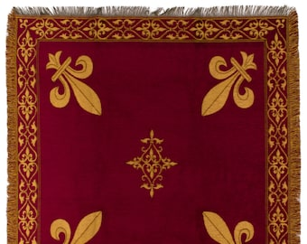 Fleur de Lys tapestry throw - French Decor Blanket - 56x56 Belgian Tapestry Throw - Red chenille throw blanket - TT-07103/77