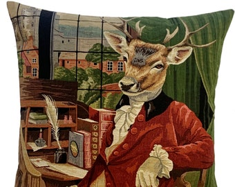 stag pillow cover - stag portrait throw pillow - satg decor - stag lover gift - funny stag decor cushion cover - tapestry pillow cover