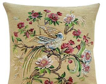 Paradise Bird Pillow Cover - Tropica Bird Cushion - Bird Gift -  Decorative Pillow - 18x18 Belgian Tapestry Throw Pillow - Tropical Decor