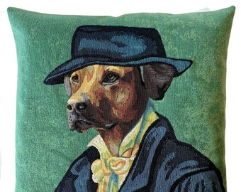 Van Gogh Portrait Pillow Cover - Yellow Labrador Portrait Cushion Cover - Dog Art - Dog Decor - Dog Lover Gift - Green Throw Pillow