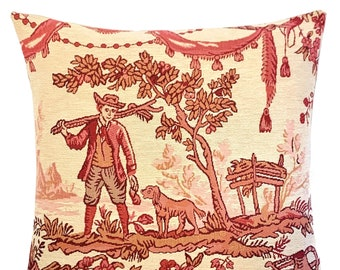 """Toile de Jouy Throw Pillow Cover - French Decor - Pastoral Scenery - 18""""x18"""" red tapestry pillow cover - Gobelin Cushion Cover"""