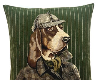 Basset Dog Pillow Cover - Sherlock Holmes Gift - EnglishCountry Decor - Basst Lover Gift - Bloodhound Throw Pillow - Green cushion cover