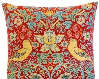 Strawberry Thief Throw Pillow - William Morris Pillow Cover- William Morris Gift - 18x18 Belgian Tapestry Cushion - Gobelin Pillow