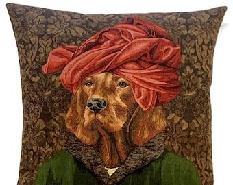 Hungarian Vizsla Pillow Cover - Jan Van Eyck Portrait -  - Dog Art Lover - Funny Dog Portrait - Dog Throw Pillow - Vizsla Portrait Cushion
