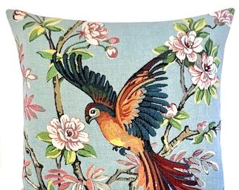 Paradise Bird Pillow Cover - Tropical Bird Cushion - Bird Gift -  Decorative Pillow - 18x18 Belgian Tapestry Throw Pillow - Tropical Decor