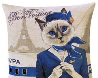 Flight Attendant Pillow Cover - Cat Pillow Cover - Cat Lover Gift - 18x18 Belgian Tapestry Cushion Cover - PC-5475
