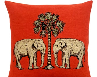 Elephant Pillow Cover - Wildlife Decor - Tropical Decor - Orange Decorative Pillow - 18x18 inch Tapestry Cushion Cover - Tropical Gift