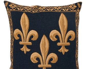 French Decor Pillow Cover - Fleur de Lis Cushion Cover - Blue Throw Pillow - Fleur de Lys Decorative Pllow - French Style Gift