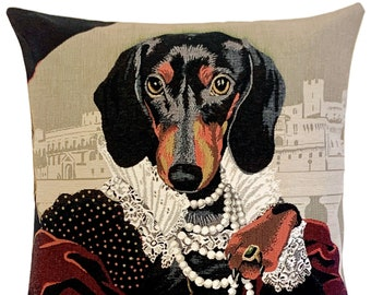 Dachshund Cushion Cover - Dog Decorative Pillow - Quirky Dog Pillow - Dachshund Lover Gift - Dog Throw Pillow